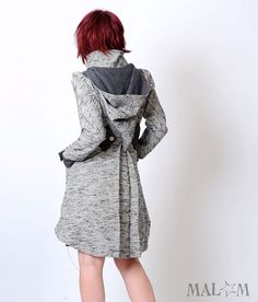 Grey Womens coat - Assymetrical coat with Goblin Hood and tall collar - vintage woven fabric and wool