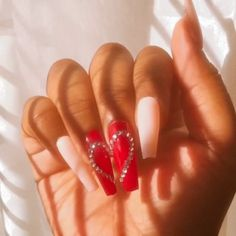 Red Gel Nails, Bling Acrylic Nails, Red Nails With Glitter, Red Sparkle Nails, Valentine's Day Nail Designs, Cute Acrylic Nail Designs, Fake Nail Designs, Heart Nail Designs, Valentine Nail Art
