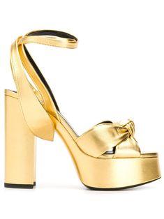 Saint Laurent Block Heel Sandals In Gold Shoes Photo, Chunky High Heels, Solid Gold, Block Heels, Open Toe, Heeled Mules, Yves Saint Laurent, Saints, Women Wear