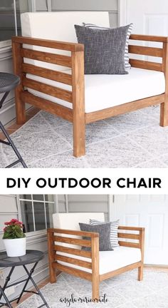 Diy Outdoor Furniture, Diy Furniture Couch, Diy Garden Furniture, Diy Furniture Projects, Outdoor Chairs, Furniture Makeover, Patio Chairs, Outdoor Decor, Woodworking Projects
