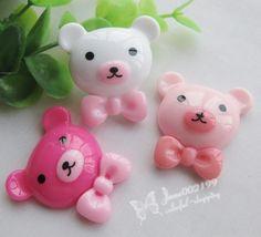 15pcs Cute Resin Bear Flat back Button Scrapbooking DIY Craft appliques JOB054