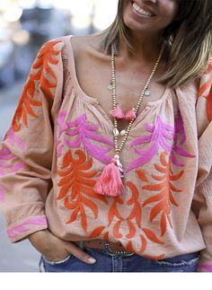 Floral Polyester V-Neckline Long Sleeve Blouses - Floryday @ floryday.com
