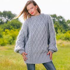 GREY Hand Knitted Sweater Aran Fisherman Mohair Crewneck Pullover by SUPERTANYA #SuperTanya #Crewneck