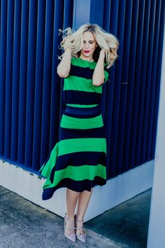 Navy and Green Stripes on Stripes