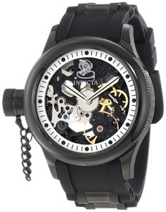 Invicta Men's 1846 Russian Diver Mechanical Black Skeleton Dial Black Polyurethane Watch * Read more reviews of the product by visiting the link on the image.