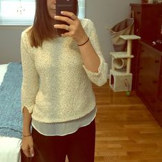 Zara double layer chiffon sequin sweater gently worn, a few minor pulls but not noticeable when on. super girly and sweet! bought in London! Zara Sweaters Crew & Scoop Necks