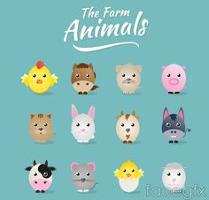 12 cartoon farm animals vector
