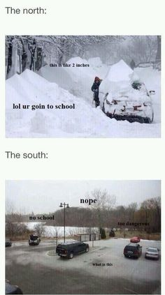 Oh, those southern wimps. :) << We actually do go to school during that. Or at least my town does.