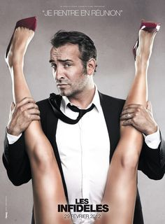 "The player  The pictures, which show Dujardin's character holding the spread-eagled legs of an anonymous woman under a caption saying ""I'm going into another meeting"""