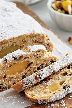 Stollen recipe from King Arthur Flour. A traditional German fruitcake for the holidays. Christmas Stollen Recipe, Christmas Bread, Christmas Baking, German Christmas, Breakfast And Brunch, Stollen Bread, Stollen Cake, Panettone, Cookies