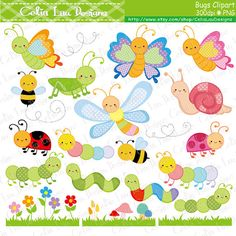 Bugs Clipart, Cute Bugs Clipart, Insect clip art, Bee, Butterfly, Ladybug, Grasshopper, Snail, Cater