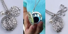 Essential Oil Diffuser Locket Necklace w/Charms