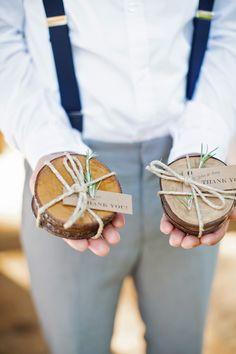 Handmade wooden coasters as a wedding day favor are always a good idea.