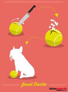 #Astuce : créer un jouet facile pour votre chien. 1) Réaliser deux entailles dans une vieille balle de tennis. 2) Insérer des friandises à l'intérieur.