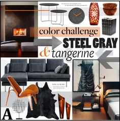 """Steel Grey And Tangerine Set"" by szaboesz on Polyvore"