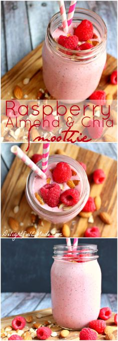 (Gluten Free) Raspberry Almond Chia Smoothie - This smoothie is not only pretty, its loaded with protein and calcium and packed with flavor. The perfect breakfast to start your day! Yummy Smoothies, Juice Smoothie, Smoothie Drinks, Breakfast Smoothies, Yummy Drinks, Healthy Drinks, Yummy Food, Healthy Kids, Rasberry Smoothie Recipe