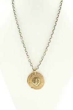 Medallion ‐ Bronze ‐ SS cable chain — Linda Dillon
