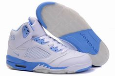 Air Jordan 5 V Retro Embroidery White University Blue Shoes is considered to have the best structure and design to wear during basketball games and sold the most pairs of shoes from the Air Jordans line.