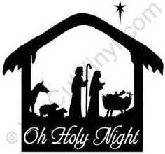 christmas manger scene with animals HOLY NIGHT Christmas Manger, Christmas Vinyl, Christmas Projects, Christmas Balls, Christmas Ideas, Christmas Tree, Silhouette Projects, Silhouette Design, Silhouette Cameo