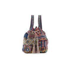 Jwla For Johnny Was Arwen Embroidered Drawstring Backpack (2.921.820 IDR) ❤ liked on Polyvore featuring bags, backpacks, denim blue, day pack backpack, backpack bags, blue backpack, drawstring backpack bag and shoulder strap bags