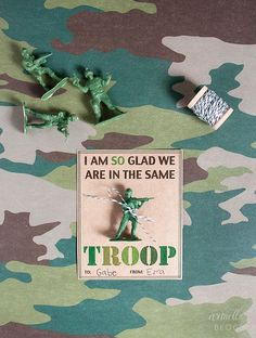 FREE printable army valentines {armelle blog} Would be cute to give to Cub Scout friends.