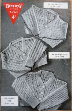 Bestway A2541 Baby Cardigans in 3 Lace by PrettyOldPatterns, £1.50