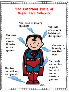 behaviors deserve super visuals This is my theme for next year.HELLO SUPERHEROS love this - parts of a super heroThis is my theme for next year.HELLO SUPERHEROS love this - parts of a super hero Superhero Classroom Theme, Classroom Behavior, Future Classroom, School Classroom, Classroom Themes, Superhero Party, Superhero Behavior Chart, Superhero Ideas, Superhero Poster