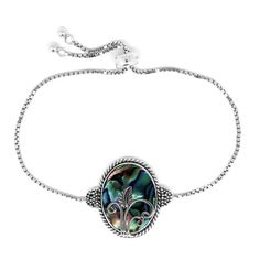 Bali Legacy Collection Abalone Shell Sterling Silver Bracelet (Adjustable) TGW 12.00 cts. | fashion | bracelets | jewelry | online-store | Shop LC