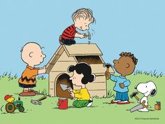 New doghouse. Snoopy with the tools and Woodstuck with the truck. Awwww, just too cute!!!