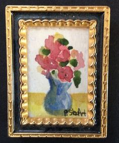 2 x Wooden Picture Frames Painting Frame Flowers Roses Miniature Dolls House