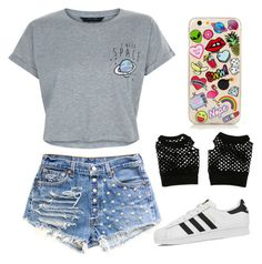 A fashion look from August 2016 featuring tee-shirt, high-waisted jean shorts and black and white shoes. Browse and shop related looks. Cheap Outfits, Cheap Clothes, Black And White Shoes, Tee Shirts, Tees, New Look, Jean Shorts, Fashion Looks, Tumblr