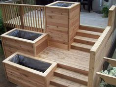 Deck garden - planting beds in staggered down the steps