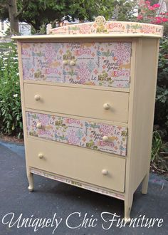 Yellow Cottage Dresser via Etsy. Fabric onlays on drawer fronts, which have been sealed and can be wiped down. Inside drawers are lined with matching fabric, and inside cabinet drawers have coordinating damask stenciling.