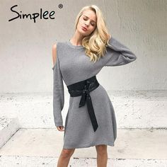 129b31bc7ea0  fashionnow Sexy Cold Shoulder Knitting Sweater Casual Long Sleeve Dress  Cold Shoulder Sweater