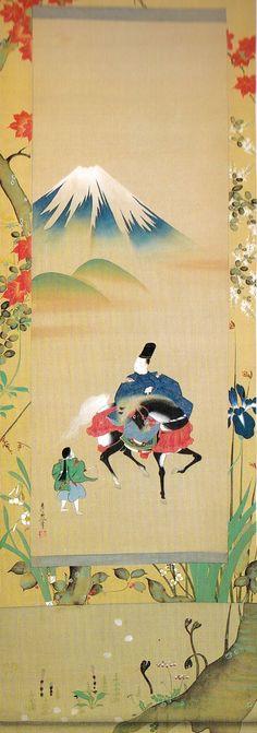 """不二山図 """"Narihira's journey to the east, riding past Mt. Fuji."""" a/k/a """"Mount Fuji"""" from The Tales of Ise. 鈴木其一 Suzuki Kiitsu"""