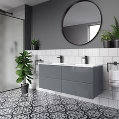 Trevia Gloss Grey Double Basin Vanity Unit - If you are looking for a piece that is sure to make an impact, our designer furniture options offer - Double Basin Vanity Unit, Sink Vanity Unit, Vanity Units, Small Double Sink Vanity, Vanity Basin, Contemporary Bathroom Designs, Modern Bathroom Design, Bathroom Interior Design, Grey Bathroom Furniture