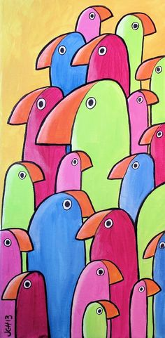 "ARTFINDER: The Flock by Jo Claire Hall - Want something bright and cute with a modern twist? Check out ""The Flock""--a fun bird painting done in acrylics on 8"" x 16"" canvas. The birds are magenta, pi..."