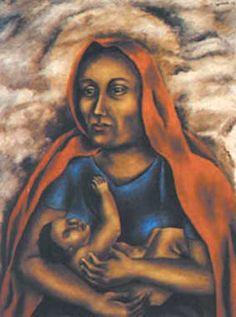 Obra supongo yo dedicada a la madre con su hijo... María Izquierdo