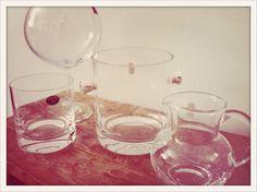 Copa de Gintonic, Hielera, vaso de Whisky bajo sencillo y jarrita    La Sombrerera de Cristal  aldara_echevarria@hotmail.com  Tlf 659.68.59.34