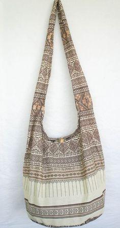 THAI NORTHERN GRAPHIC EARTH TONE HOBO BAG sling purse shoulder hippie crossbody #Handmade #ShoulderBag