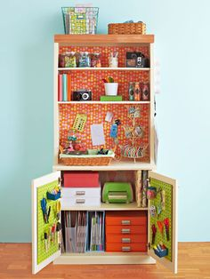 Crafts Storage   I like the idea of converting a bookcase in to craft storage.  Especially for scrapbooking supplies!