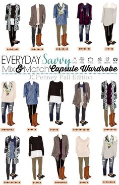 Here is a new JCPenney capsule wardrobe for Fall.   This isn't a true a capsule wardrobe in that is covers all occasions but these mix and match outfits will have you looking great for all your fall casual events. I am a huge fan of the oregano  pants that are right on trend for fall and sweater cardigan.: