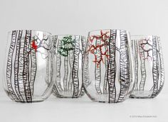 The Four Seasons Birch Tree Collection 4 by MaryElizabethArts: