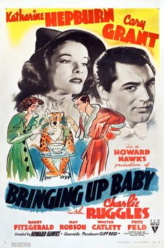 "Director Howard Hawks' ""Bringing Up Baby"", starring Katherine Hepburn and Cary Grant."