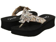 fc0b7e1c653 Grazie Womens NEW Lavida 2 Champagne Cross Wedge Platform Sandals Flip Flops
