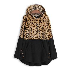 Leopard Color Block Button Side Teddy Bear Sweatshirt Hoodie 39.99 CAD Hoodie Sweatshirts, Fleece Hoodie, Casual Sweaters, Sweater Coats, Couture, Snake, Long Sleeve, Casual Winter, Pocket