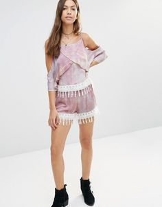 Image 4 ofYoung Bohemians Cami Top With Drapey Cold Shoulders And Crochet Hem