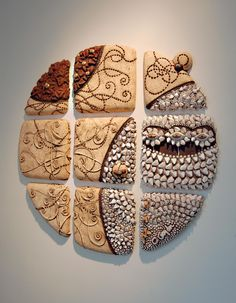 Lunar Reflect by Chris Gryder This is a different use of shells and found art pieces. Clay Wall Art, Ceramic Wall Art, Ceramic Clay, Tile Art, Ceramic Painting, Mosaic Art, Ceramic Pottery, Pottery Art, Ceramica Artistica Ideas