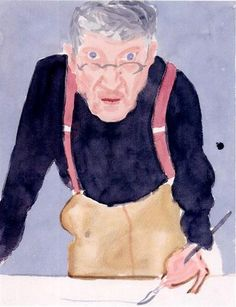 This is quite an abstract portrait of David Hockney.  With limited detail on the hands and his apron. He has a lighter tone on his cheeks and just above his brow. He has done his hair with quite big bold brush strokes.