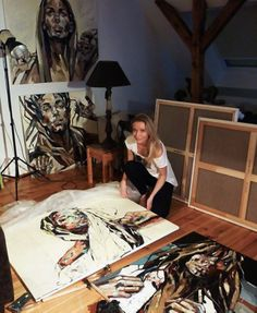 Anna Bocek in her art studio #workspace